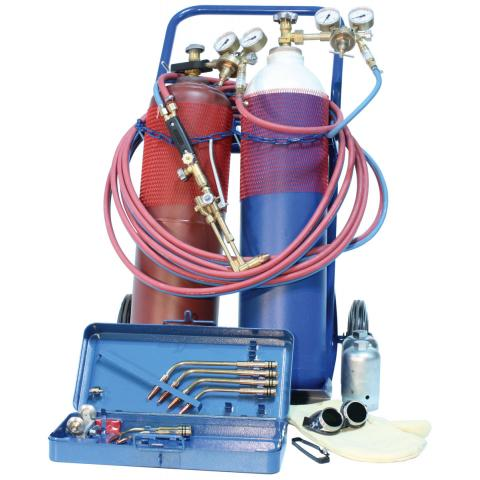 Complete autogenous welding set incl. filled oxygen \ acetylene gas cylinders & steel cylinder trolley